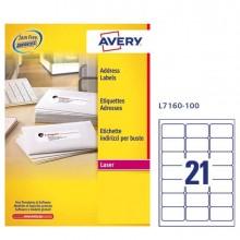 Etichetta Adesiva L7160 Bianca 100Fg A4 63,5X38,1Mm (21Et/Fg) Avery