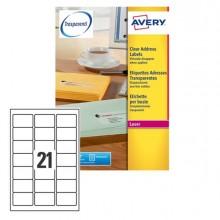 Poliestere Adesivo L7560 Trasparente 25Fg A4 63,5X38,1Mm (21Et/Fg) Laser Avery
