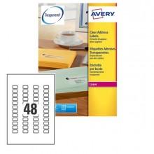Poliestere Adesivo L7553 Trasparente 25Fg A4 22X12,7Mm (48Et/Fg) Laser Avery