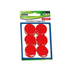 Blister 12 Magneti Mr-30 Rosso Diam.30Mm
