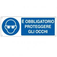 CARTELLO ALLUMINIO 35x12,5cm 'E' obligatorio proteggere gli occhi'