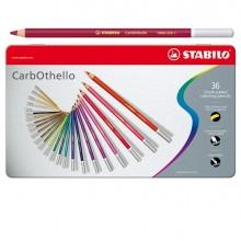 Astuccio Metallo 36 Colori Matite Carboncino Carbothello Stabilo