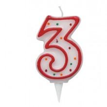 Candelina Zuccherino Numero 3 - H. 8.5Cm Big Party
