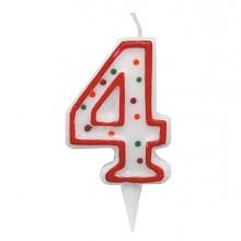 Candelina Zuccherino Numero 4 - H. 8.5Cm Big Party