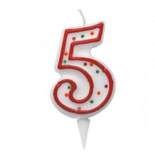 Candelina Zuccherino Numero 5 - H. 8.5Cm Big Party