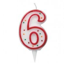 Candelina Zuccherino Numero 6 - H. 8.5Cm Big Party