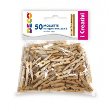 Confezione 50 Mollette In Legno 25Mm Colore Naturale Cwr