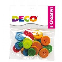 Confezione 30 Bottoni In Legno Colori Neon Cwr