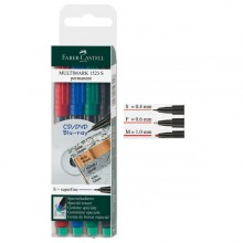 Busta 4 Colori Pennarello Multimark 0,6Mm Fine Faber-Castell