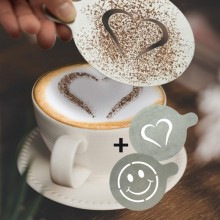 """Set 2 Stencil Per Caffe' """"Cuore + Smile"""" Securit"""