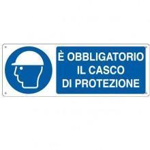 CARTELLO ALLUMINIO 35x12,5cm 'E' obligatorio il casco di protezione'