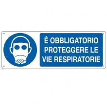 CARTELLO ALLUMINIO 35x12,5cm 'E' obligatorio proteggere le vie respiratorie'
