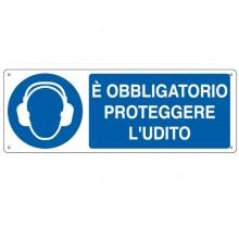CARTELLO ALLUMINIO 35x12,5cm 'E' obligatorio proteggere l'udito'