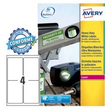 Poliestere Adesivo L4774 Bianco 20Fg A4 99,1X139Mm (4Et/Fg) Laser Avery