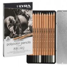ASTUCCIO METALLO assortimento 12 matite grigie REMBRANDT POLYCOLOR Lyra