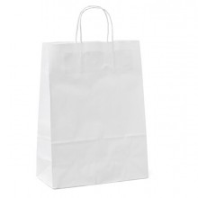 25 shoppers carta 18x8x24CM bianco neutro cordino