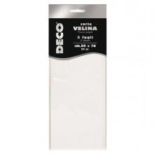 Busta 5 fogli carta velina 20gr 50x76cm bianco CWR