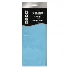 Busta 5 fogli carta velina 20gr 50x76cm azzurro CWR