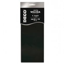 Busta 5 fogli carta velina 20gr 50x76cm nero CWR