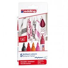 Astuccio 5 colori caldi per tessuto punta 2,0-3,0mm Edding
