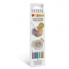 Astuccio 6 matite Minabella diam. 3,8mm colori metallizzati assortiti PRIMO