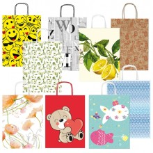 Shopper carta kraft c/manici in carta ritorta 16x21x8cm fantasie ass. Sadoch (conf.25)