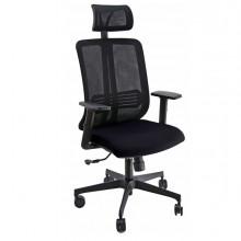 Poltrona ergonomica Vertigo Nero/Nero No FLAME con poggiatesta e braccioli