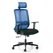 Poltrona ergonomica Vertigo Blu/Nero No FLAME con poggiatesta e braccioli