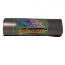 10 Sacchi Grigio trasp. 70x110cm 110Lt 22µ Rolsac