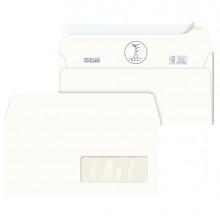500 Buste bianche carta riciclata strip 110X230mm con Finestra 100GR Kami Pigna