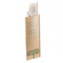 48 Bis Coltello e forchetta in legno 16cm con tovagliolo Leone