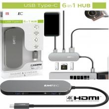 Emtec HUB 6-in-1 Multimedia Type-C T650C