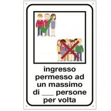 """Etichetta per vetrofanie 12x18cm """"INGRESSO PERMESSO AD UN MAX. DI N. PERSONE"""""""