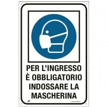 """Cartello alluminio 20x30cm """"OBBLIGO USO MASCHERINA"""""""