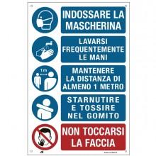 Etichetta 20x30cm con disposizioni igieniche generali