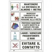 Etichetta 20x30cm con disposizioni comportamentali generali