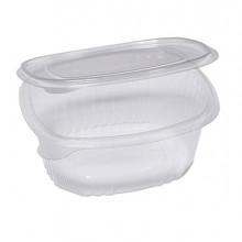 Pack 50 contenitori ovali in PET con coperchio incernierato 16x13,5cm Cuki