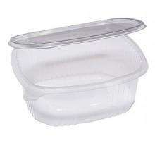 Pack 50 contenitori ovali in PET con coperchio incernierato 22,5x19,2cm Cuki
