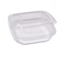 Pack 50 contenitori in PP con coperchio incernierato 18,5x18,5cm H3,7cm Cuki