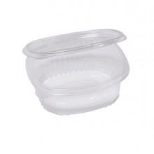 Pack 50 contenitori ovali in PET con coperchio incernierato 14x11,9cm Cuki