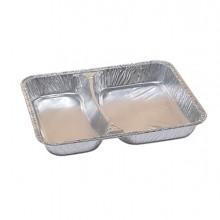 Pack 100 contenitori in alluminio a due scomparti 22,67x17,66cm Cuki
