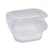 Pack 50 contenitori in PP con coperchio incernierato 15,5x15,5cm H5,7cm Cuki