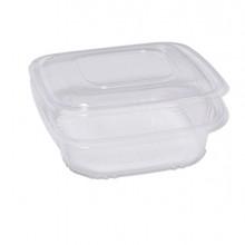 Pack 50 contenitori in PP con coperchio incernierato 18,5x18,5cm H5,2cm Cuki