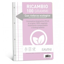 Ricambi c/rinforzo ecologico f.to A4 100gr 40fg rigo di 1a Favini