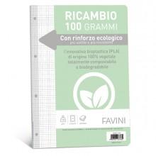 Ricambi c/rinforzo ecologico f.to A4 100gr 40fg 4mm Favini