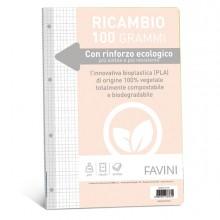 Ricambi c/rinforzo ecologico f.to A4 100gr 40fg 5mm Favini