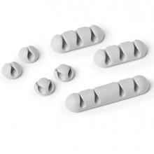 Mix di 7 Clip fermacavi adesivi - grigio - Cavoline Clip Mix Durable