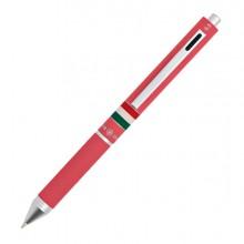 Penna sfera scatto multifunzione QUADRA fusto rosa gommato Italia OSAMA