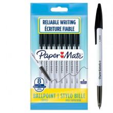 Busta 8 penne a sfera con cappuccio PaperMate 045 punta 1,0mm nero