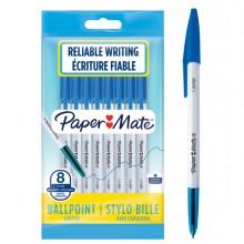 Busta 8 penne a sfera con cappuccio PaperMate 045 punta 1,0mm blu